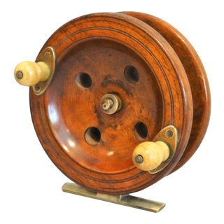 1920s Large English Walnut Fishing Reel