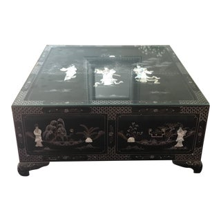Black Laquer Asian Coffee Table With Raised Figurines For Sale