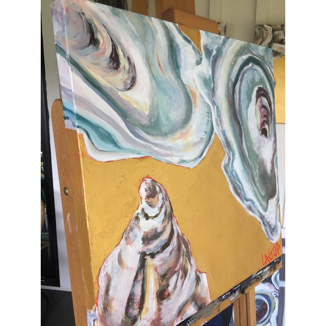 "Contemporary Oysters Paintings on Canvas ""Gold Coast I, Ii, Iii"" by Leigh-Anne O'Brien (Lagob) - Set of 3 For Sale - Image 10 of 13"