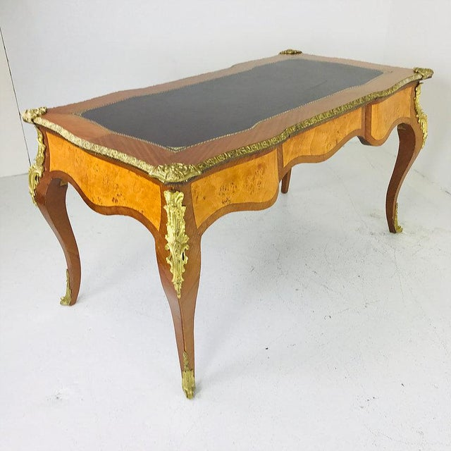French Ormolu Desk With Burl Wood & Leather Top For Sale - Image 4 of 7