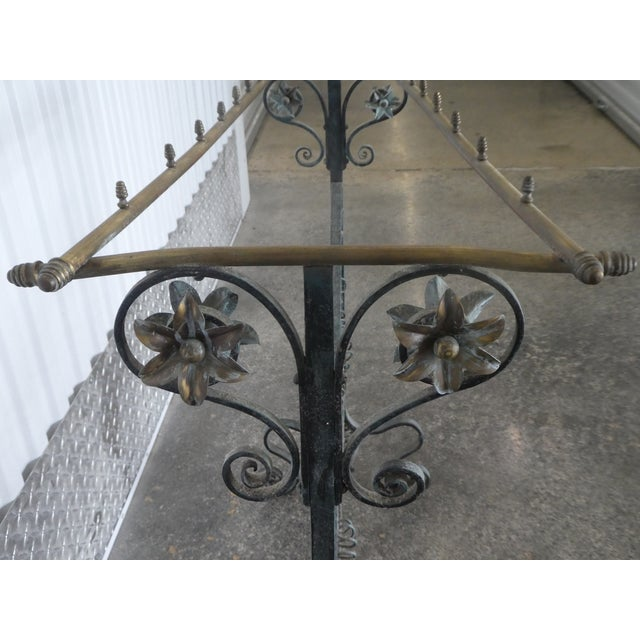 Metal 19th Century French Faux Bamboo Brass and Wrought Iron Blanket Stand For Sale - Image 7 of 8
