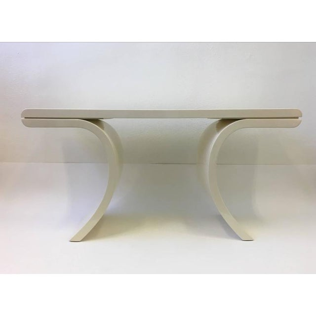 High Gloss Lacquered Console Table in the Manner of Karl Springer For Sale - Image 4 of 8