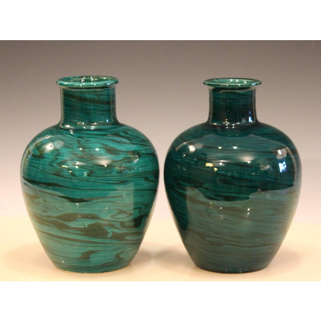 """Vintage pair of Bitossi vases in green marbled pattern with good contrasts, circa 1970s. Measures: 8 5/8"""" high, 6 1/8""""..."""