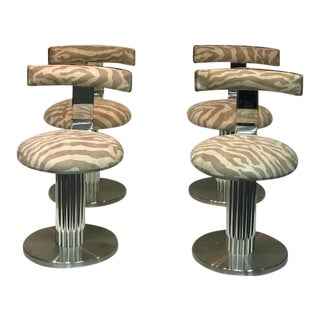 1970s Design for Leisure Zebra Chrome Bar Stools - Set of 4 For Sale