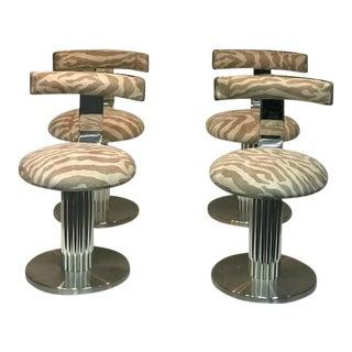 1970s Design for Leisure Zebra Chrome Bar Stools - Set of 4 For Sale
