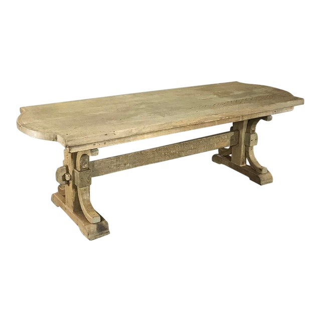 Antique Country French Provincial Stripped Oak Trestle Table For Sale