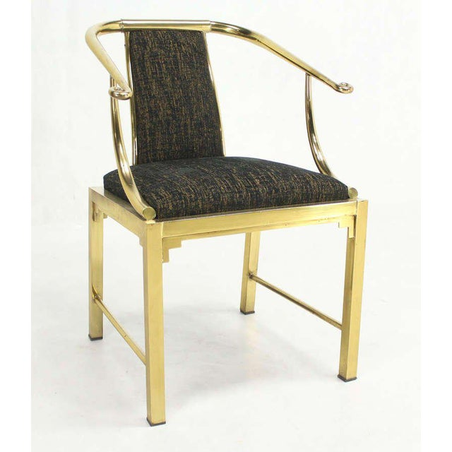 Brass Mid-Century Modern Pair of Brass Barrel Back Chairs by Mastercraft For Sale - Image 7 of 10