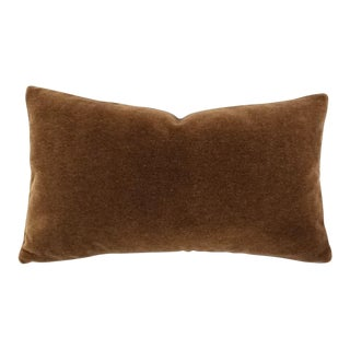 Mohair Velvet Dark Brown Lumbar Pillow Cover For Sale