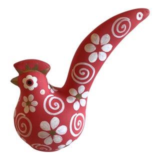 Vintage Terra Cotta Painted Bird Figurine