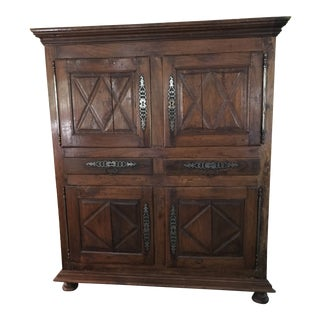 17th Century French Louis XIII Fruitwood Cupboard For Sale
