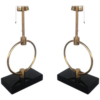 Gilbert Rohde Style Brass Ring Table Lamp, Pair For Sale