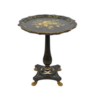 French Maitland Smith Black Floral Painted Pedestal Side Table For Sale