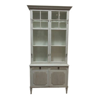 Swedish Gustavian 2 Door Glass Top Hutch For Sale