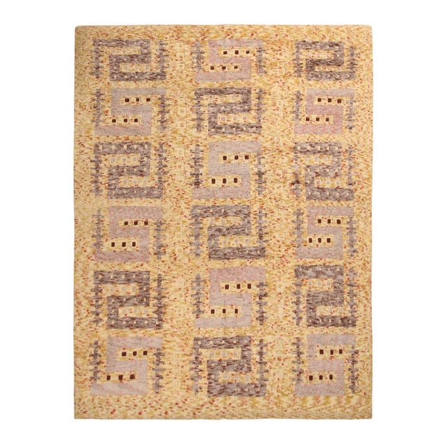 Rug & Kilim's Scandinavian-Inspired Geometric Golden-Yellow Gray Wool Rug For Sale In New York - Image 6 of 6