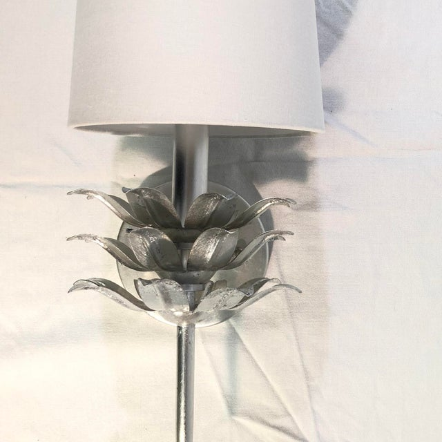 Worlds Away Delilah Silver Leaf One Arm Wall Sconce - Showroom Sample This elegant wall sconce is constructed of metal and...