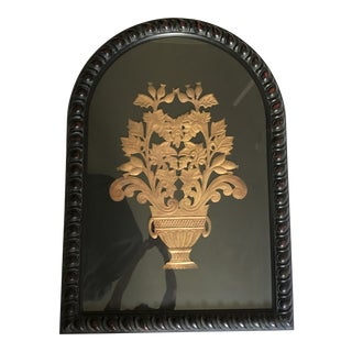Italian Art Deco Style Copper Repoussé in Carved Wood Frame For Sale