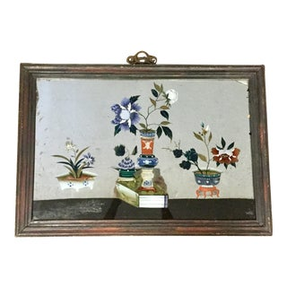 19th Century Chinese Verre Eglomise Reverse Glass Painting