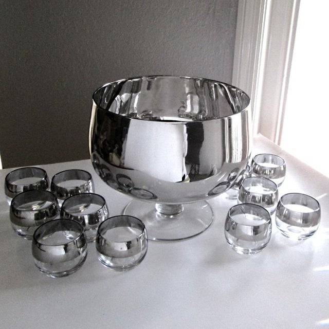 Blown Glass Dorothy Thorpe Footed Punch Bowl Set of 13 For Sale - Image 7 of 9