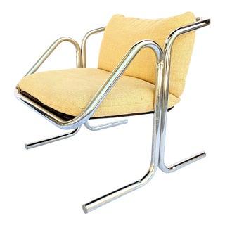 Mid-Century Modern Jerry Johnson Tubular Chrome Occasional Chair For Sale