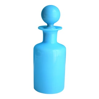 1940's Antique Portieux Vallerysthal Blue Opaline Perfume Bottle For Sale