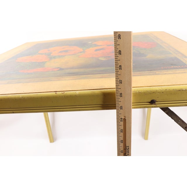 1950s Vintage Bridge Tables & Novelties M Streckenbach Poppy Flowers Table Stand For Sale - Image 9 of 12