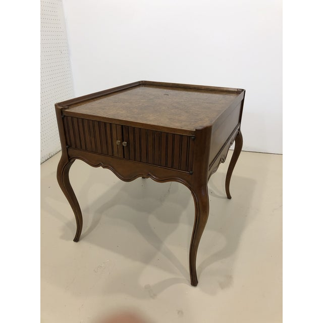 Mid 20th Century Vintage Baker Furniture Mahogany and Burl Wood Side Tables - Pair For Sale - Image 5 of 12