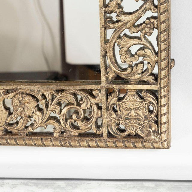 1930s Art Deco Gilded Bronze Arabesque Arch Form Mirror in the Manner of Edgar Brandt For Sale - Image 5 of 7