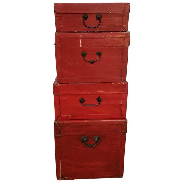 Asian Chinese Lacquered Trunks For Sale - Image 3 of 8