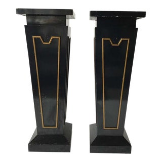 Large Classical Wood Pedestals - A Pair For Sale