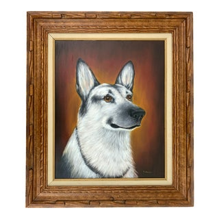 1960s Potrait of a German Shepherd Dog Oil Painting, Framed For Sale