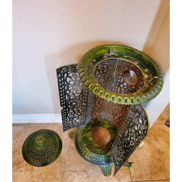 Metal Decorative French Art Nouveau Enameled Cast Iron Antique Parlor Heater Stove For Sale - Image 7 of 11