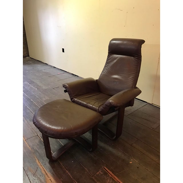 """This is a great vintage Westnofa """"manta"""" chair with matching ottoman. This piece is in great vintage condition in soft..."""