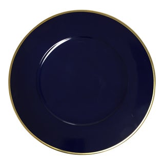 """Anna Weatherley 12.5"""" Cobalt Blue Charger W/ Gold Trim For Sale"""
