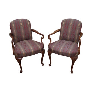 Harden Solid Cherry Queen Anne Armchairs - A Pair