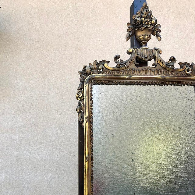 Wood 19th Century Italian Carved Giltwood Mirror For Sale - Image 7 of 11