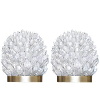 Pair of Rock Crystal and Bronze Sconces For Sale
