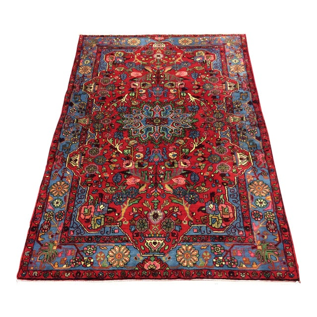 1980s Vintage Nahavand Persian Rug - 5′2″ × 8′ For Sale