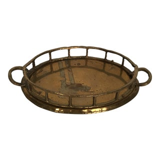 Small Bamboo Style Brass Tray
