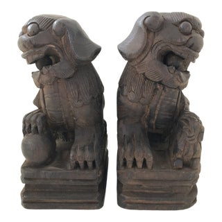 Chinese Japanese Asian Wood FooDogs Pair Set of 2 Hand Carved Made Vintage For Sale