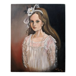 1980s Original Acrylic Paint Portrait of a Girl For Sale