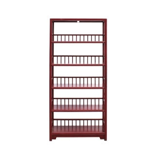 Chinese Distressed Matte Brick Red 5 Shelves Bookcase Display Cabine For Sale