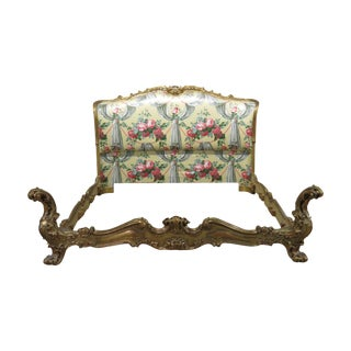 Vintage Venetian Style Bed With Upholstered Headboard For Sale