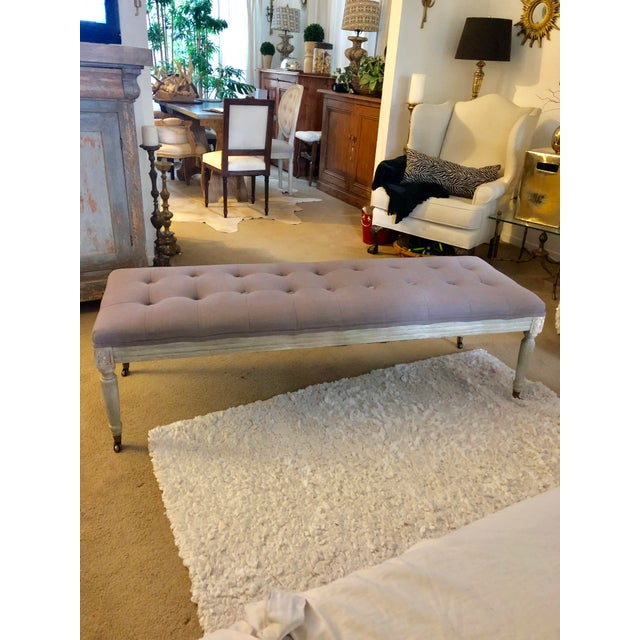 Modern Upholstered Tufted Bench For Sale - Image 9 of 9