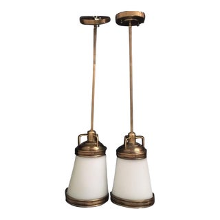 Hudson Valley Brass Pendant Lights - A Pair For Sale