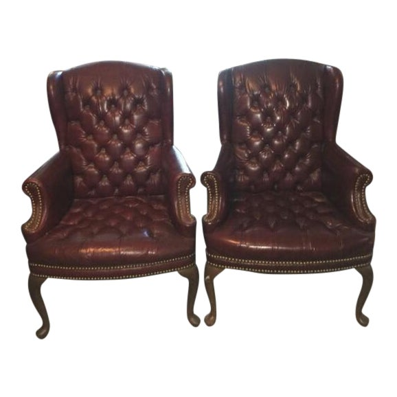High Point Leather Wingback Chairs - Set of 2 - Image 1 of 11