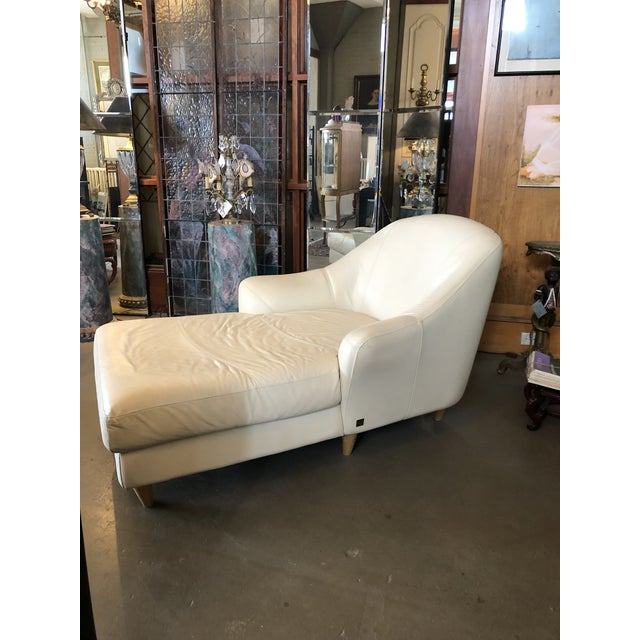 Vintage 1980s Calia Italia Italian Cream Leather Chaise Lounger. Sturdy, sound condition. The leather is in remarkably...