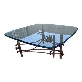 Brutalist Gilt Iron Lotus Cocktail Table For Sale