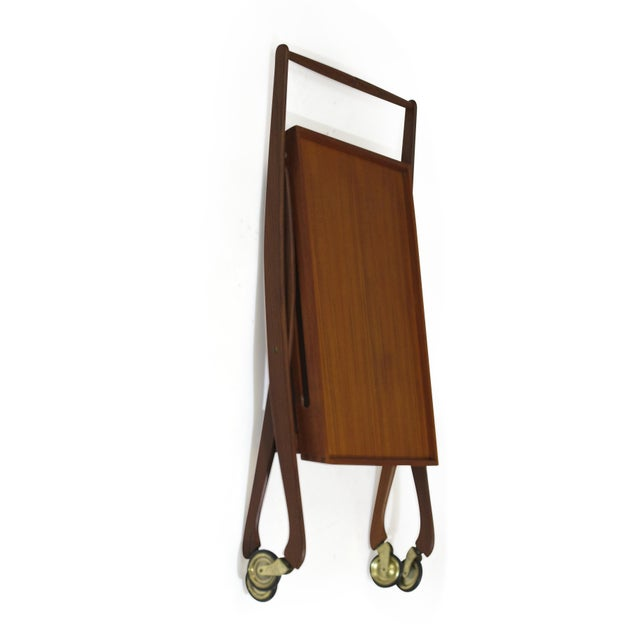 Brown Danish Teak Folding Bar Cart For Sale - Image 8 of 8