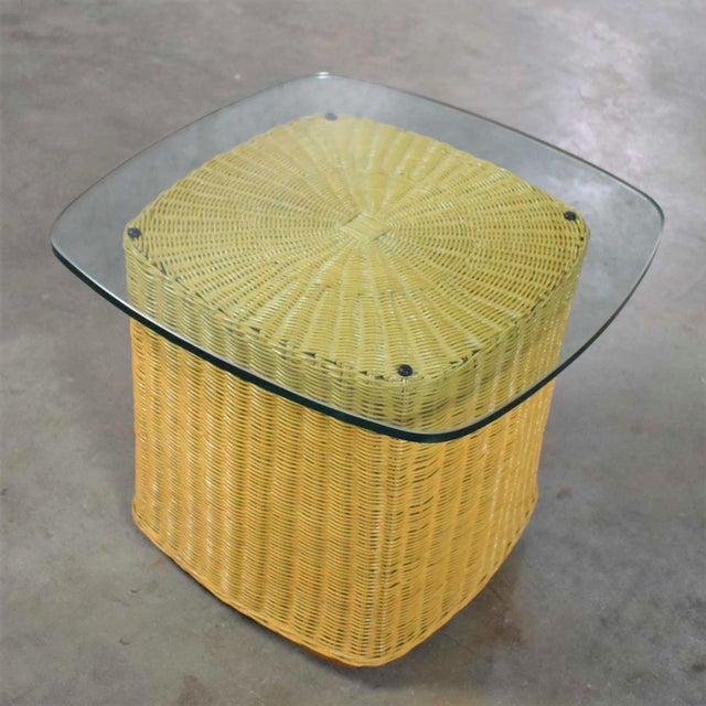 Coffee Rattan Wicker Organic Modern Side Table With Thick Glass Top For Sale - Image 8 of 13
