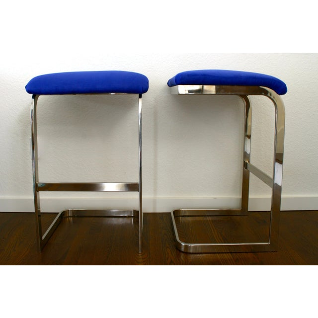 Fabric Blue Faux Suede and Silver Cantilever Barstools - A Pair For Sale - Image 7 of 7